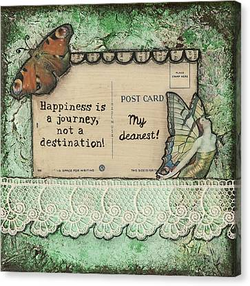 Happiness Is A Journey Inspirational Mixed Media Folk Art Canvas Print