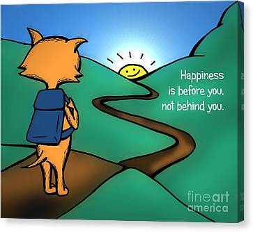 Canvas Print featuring the drawing Happiness Is Before You by Pet Serrano
