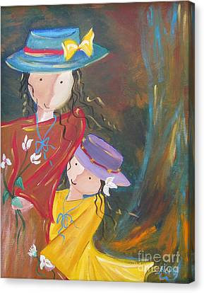 Canvas Print featuring the painting Happiness by Nereida Rodriguez