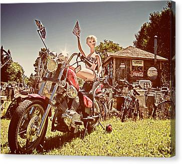 Mannequin On Motorcycle  Canvas Print by Mary Lee Dereske