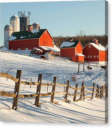 Happy Acres Farm Square Canvas Print by Bill Wakeley