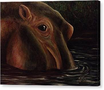 Happy As A Hippo Canvas Print by K Simmons Luna