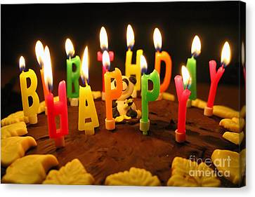 Candle Lit Canvas Print - Happy Birthday Candles by Lars Ruecker
