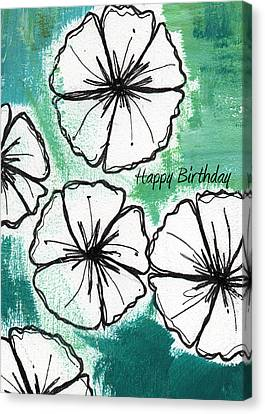 Cart Canvas Print - Happy Birthday- Floral Birthday Card by Linda Woods