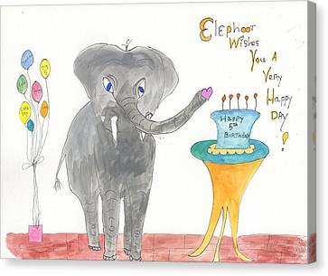 Canvas Print featuring the painting Happy Birthday From Elephoot by Helen Holden-Gladsky