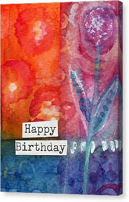 Happy Birthday- Watercolor Floral Card Canvas Print by Linda Woods