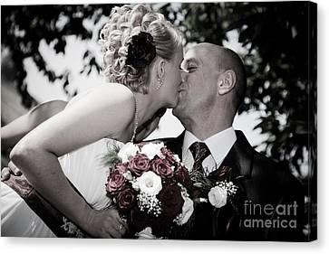 Happy Bride And Groom Kissing Canvas Print by Michal Bednarek