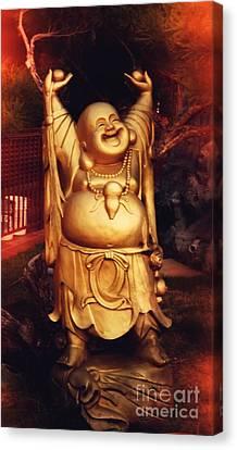 Happy Buddha Canvas Print by Angela Wright