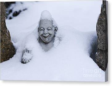 Happy Buddha In Snow Canvas Print