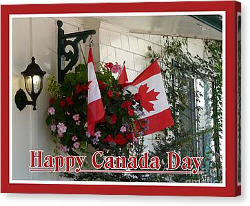 Happy Canada Day Floral Canvas Print