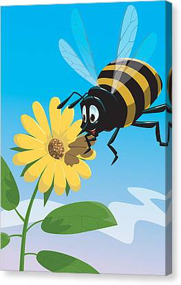 Happy Cartoon Bee With Yellow Flower Canvas Print by Martin Davey