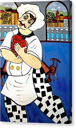 Canvas Print featuring the painting Chef  Happy Chef by Nora Shepley