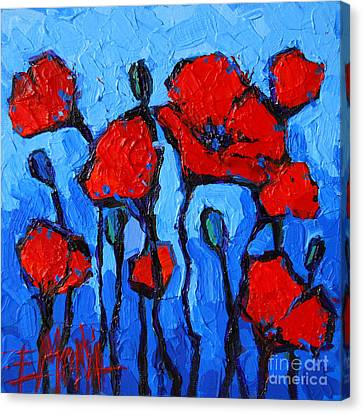 Abstract Expressionist Canvas Print - Happy Coquelicots by Mona Edulesco