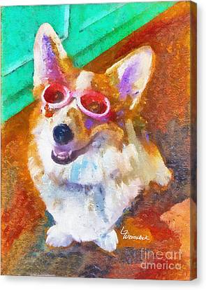 Canvas Print featuring the painting Alameda Happy Little Cancer Survivor  by Linda Weinstock