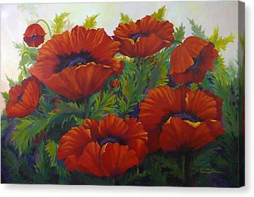 Happy Dance Red Poppies Canvas Print by Karen Mattson