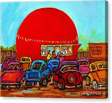 Happy Days At The Gibeau Orange Julep Montreal Landmark Antique Cars Carole Spandau Canvas Print