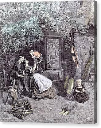 Happy Days In The Garden Children C.j Canvas Print by English School