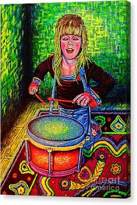 Happy Drummer Canvas Print by Viktor Lazarev