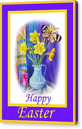 Happy Easter Daffodils Canvas Print by Irina Sztukowski