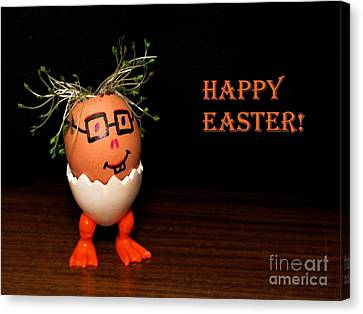 Happy Easter Greeting Card. Funny Eggmen Series Canvas Print