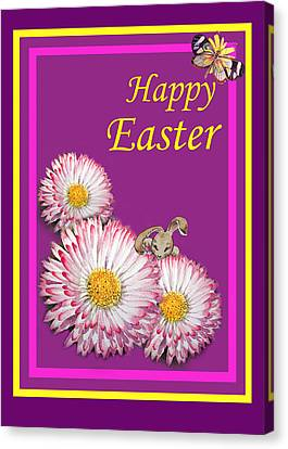 Happy Easter Hiding Bunny Canvas Print by Irina Sztukowski