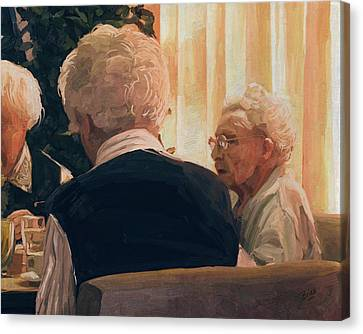 Canvas Print featuring the painting Happy Elderly by Nop Briex