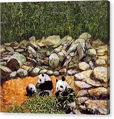 Happy Family Pandas Canvas Print by Komi Chen