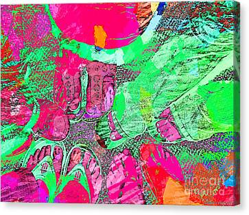 Happy Feet Abstract Photoart Canvas Print by Debbie Portwood