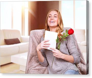 Happy Female Enjoying Greeting Card Canvas Print by Anna Om