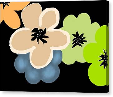 Canvas Print featuring the digital art Happy Flowers Blue by Christine Fournier