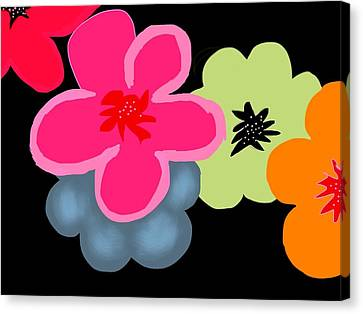 Canvas Print featuring the digital art Happy Flowers Pink by Christine Fournier