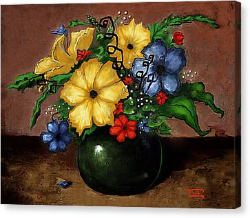 Canvas Print featuring the painting Happy Flowers by Terry Webb Harshman