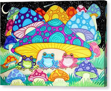 Happy Frogs In The Starlight  Canvas Print by Nick Gustafson