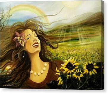 Happy Canvas Print by Gina De Gorna
