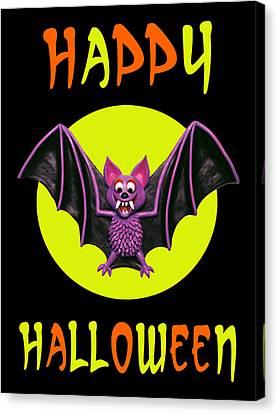 Happy Halloween Bat Canvas Print by Amy Vangsgard