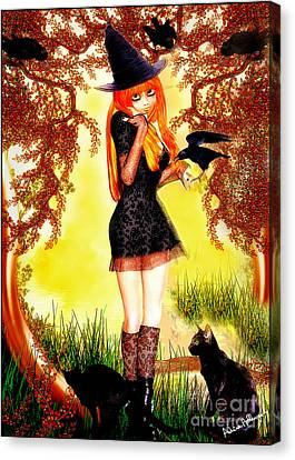Happy Halloween Cute Witch Canvas Print