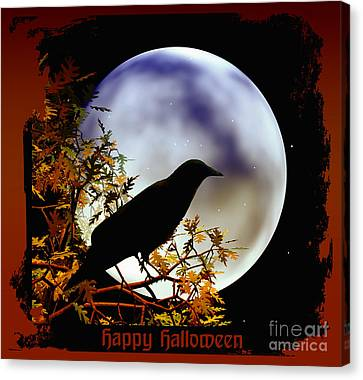 Happy Halloween Moon And Crow Canvas Print