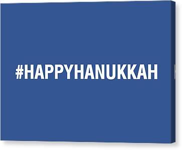 Happy Hanukkah Hastag Canvas Print by Linda Woods