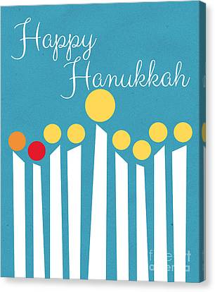Hebrew Canvas Print - Happy Hanukkah Menorah Card by Linda Woods