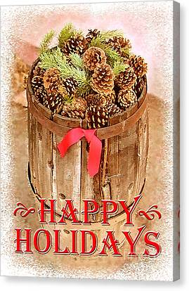 Canvas Print featuring the photograph Happy Holiday Barrel by Cristophers Dream Artistry