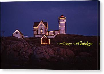 Happy Holidays At Nubble Canvas Print by Skip Willits