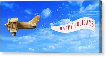Happy Holidays Banner Canvas Print by Amanda Elwell