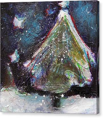 Snowy Night Night Canvas Print - Happy Holidays Blue And Red Wishing Stars by Johane Amirault