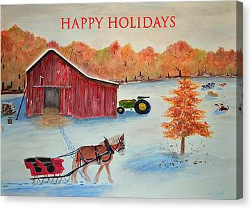 Happy Holidays Card Canvas Print by Ken Figurski