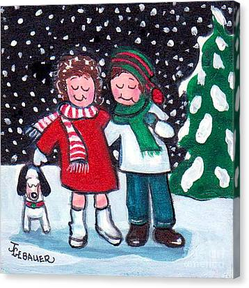 Canvas Print featuring the painting Happy Holidays by Joyce Gebauer