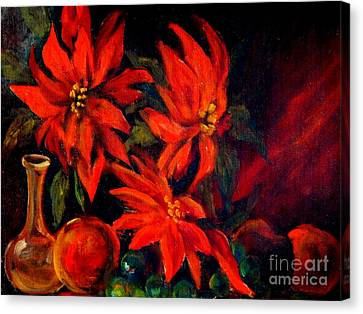 New Orleans Red Poinsettia Oil Painting Canvas Print by Michael Hoard