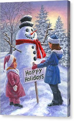 Snowman Canvas Print - Happy Holidays by Richard De Wolfe