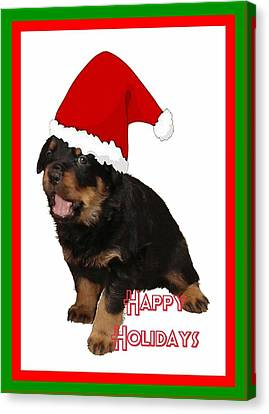 Happy Holidays Rottweiler Christmas Greetings  Canvas Print by Tracey Harrington-Simpson