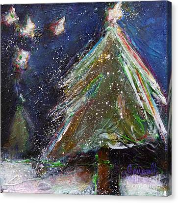 Happy Holidays Silver And Red Wishing Stars Canvas Print
