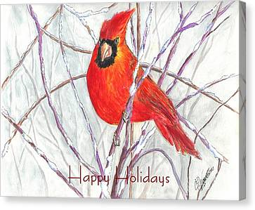 Happy Holidays Snow Cardinal Canvas Print